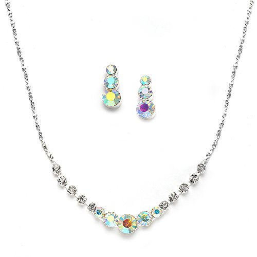Mariell Dainty Genuine AB Crystal Rhinestone Prom Necklace Earrings Set - Also Great Bridesmaid & Bridal (Crystal Rhinestones Aurora)