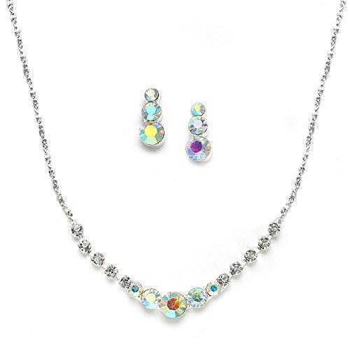 Mariell Dainty Genuine AB Crystal Rhinestone Prom Necklace Earrings Set - Also Great Bridesmaid & Bridal ()