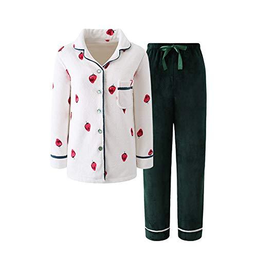 Mujer Fresa Otoño Piezas Cálido nbsp;pijamas Suelto Dulce Color Hogar Engrosamiento De Mmllse Photo Dos w8qF4