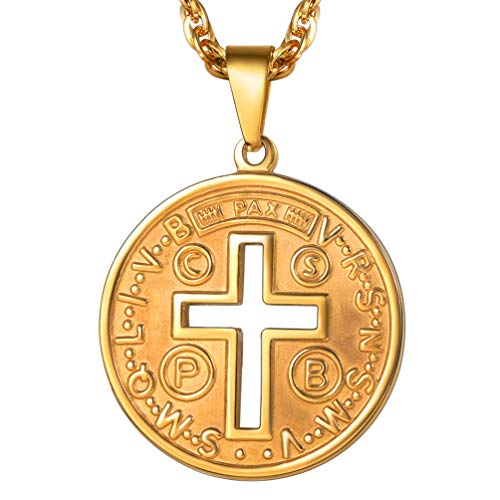 - PROSTEEL Cross of St Benedict Necklace Confirmation Gift Cross Jesus Saint 18K Gold Plated Round Medal Medallion Pendant Catholic Christian Jewelry