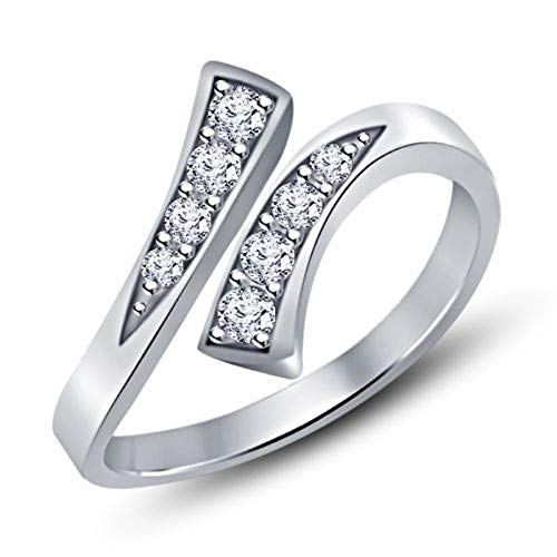 Elinajewels 14k White Gold Over 925 Sterling Silver Round Cubic Zirconia Bypass Women's Toe Ring Mid Ring