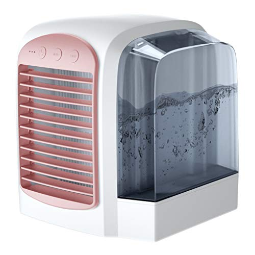 USB Fan, Heberry Portable Mini Water Air Conditioner Cool Cooling for Bedroom Cooler Fan (Pink)