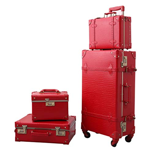 Vintage Luggage Set Carry On Luggage Retro Travel Suitcase with Rolling Spinner password lock (4 pcs)
