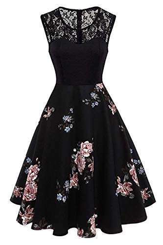 Women Vintage 1950's Lace Floral Print Pin Up Rockabilly Party ()