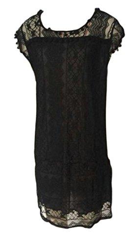 Cromoncent Femmes Élégantes Robes À Encolure Bateau Pompon Creuse En Dentelle Sans Manches Noir