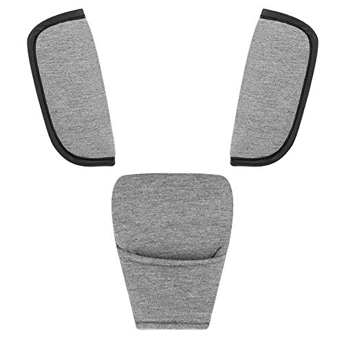 (Accmor Baby Car Seat Strap Covers Suit, Stroller Belt Cover, Car Seat Strap Pads,Baby Seat Belt Covers, Baby Shoulder Pads,Baby Neck Pads, Hip Support, Gray, Soft)