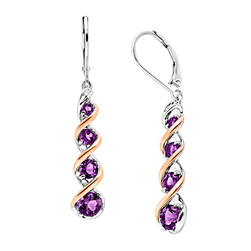 1 7/8 ct Natural Amethyst Drop Earrings with Diamonds in Sterling Silver & 14K Rose (14k Amethyst Dangle Earrings)