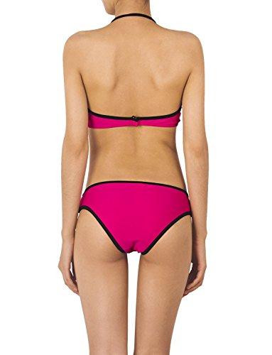 iB-iP Mujer Escote Halter Cuello Neopreno Aco De Poca Altura Conjunto De Bikini Color rosa oscuro