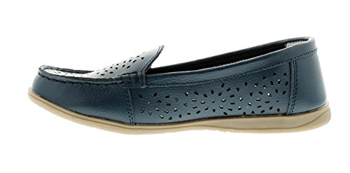 NUOVO donna / donna Ever So Soft pelle blu scuro SLIP-ON, Loafers - NAVY - NUMERI UK 3-8
