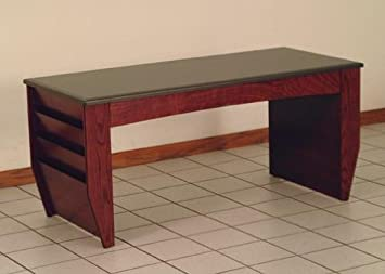 Wooden Mallet DW2-BG Dakota Wave Lobby & Coffee Table with 6 Magazine Pockets in Dark Red Mahogany from ABC Office