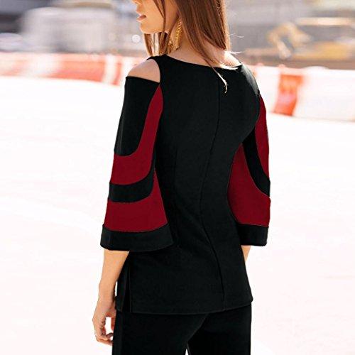 Amlaiworld Damen sommer bunt Flickwerk Langarmshirt basic Mädchen Flickwerk Oberteile mode elegant Bluse locker Casual Ringel lässig Tops Rot