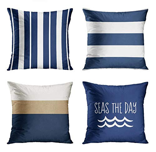 ArtSocket Set of 4 Throw Pillow Covers Nautical Navy Blue and White Striped Sailing Nantucket England Designer Bolster Interior Decorative Pillow Cases Home Decor Square 20x20 Inches Pillowcases