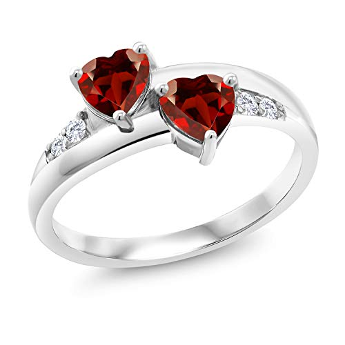 Gem Stone King 1.18 Ct Heart Shape Red Garnet 925 Sterling Silver Lab Grown Diamond Ring (Size 7)