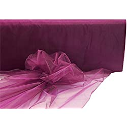 BalsaCircle 54-Inch x 40 yards Eggplant Purple Sheer Organza Fabric by the Bolt - Sewing Craft Wedding Party Draping Supplies