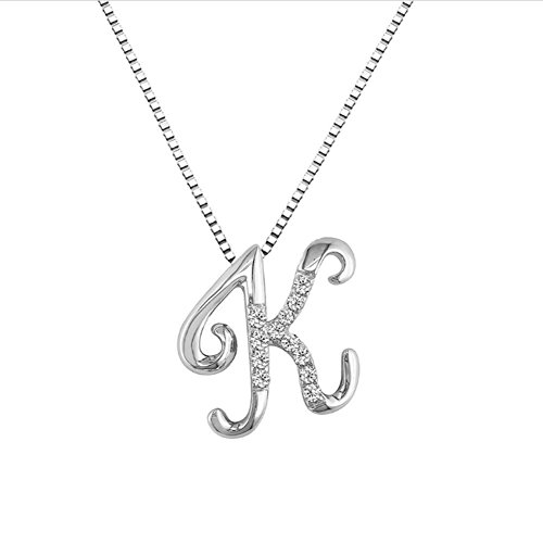 JMS Jewelry 18K White Gold Initial K Pave with Diamond Pendant (49) ()