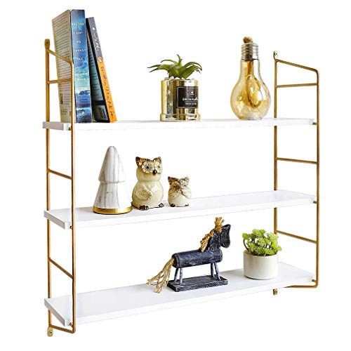 BOLUO White Floating Shelves 24 Inch 3 Tier Gold Wall Shelf for Bedroom Hanging Shelving Mounted Bathroom Shelfs Modern (Wall Hanging White Shelves)