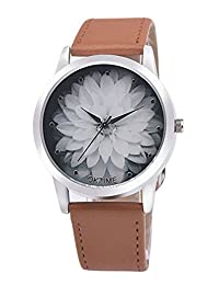 Gracefulvara Girls Student Fashion Flower Dial Luxury Pu Leather Band Quartz Wrist Watch
