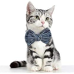 MaxFox Pet Dog Bow Tie Collar Adjustable Cowboy Teddy Jewelry Gentleman Cat Bow Collar for Decoration Accessories (S, Navy)