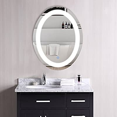 CO-Z Dimmable Oval LED Lighted Bathroom Mirror, Modern Touch Wall Mirror with Dimmer and Lights, Wall Mounted Fogless Backlit Makeup Vanity Mirror Over Cosmetic Bathroom Sink