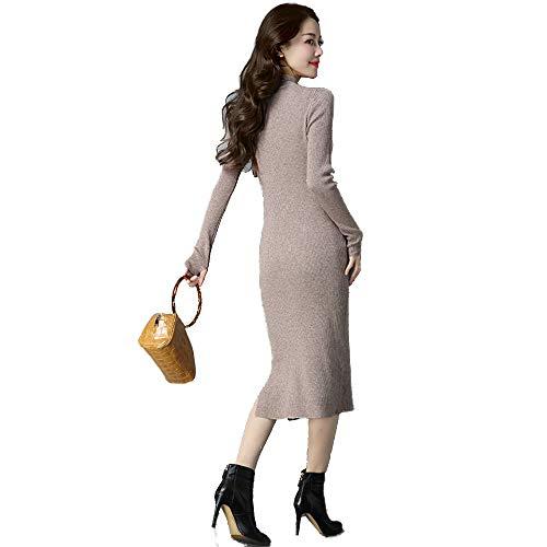 Femminile Grande Maglione Lunghe Diviso In Pezzi alto Maniche Alto Abito Shirloy Lungo Collo Semi Cammello A Caldo Due HFFTx0