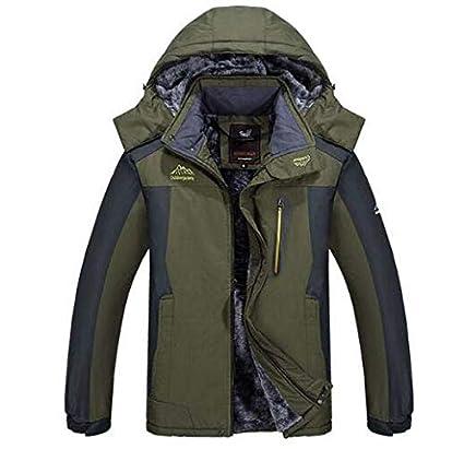 Huaishu Impermeable de los Hombres Abrigo de algodón Invierno al Aire Libre Engrosamiento Chaqueta Caliente,