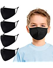 Aucma Kids Reusable Adjustable Face Masks,Toddler Black Breathable Washable Cute Designer Child Fabric Cotton Cloth Fashion Madks Earloops, Kawaii Mascarilla Youth Boys Girls