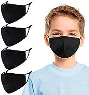 Aucma Kids Reusable Adjustable Face Masks,Toddler Black Breathable Washable Cute Designer Child Fabric Cotton