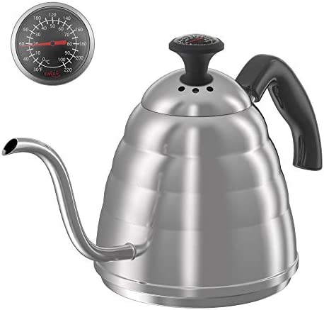 ENLOY Gooseneck Pour Over Coffee Kettle, Coffee Kettle Use for Drip Coffee and Tea, Stainless Steel Pour Over Kettle with Fixed Thermometer for Exact Temperature 34 oz