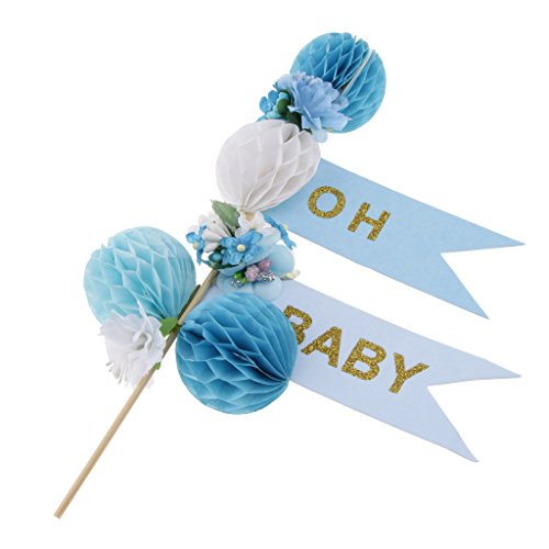D DOLITY Baby Shower Paper Honeycomb Cupcake Picks Toppers Party Decoration - Blue