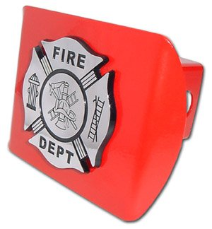 Firefighter Hitch Covers (Firefighter (Chrome and Black) All Metal Red Hitch Cover)