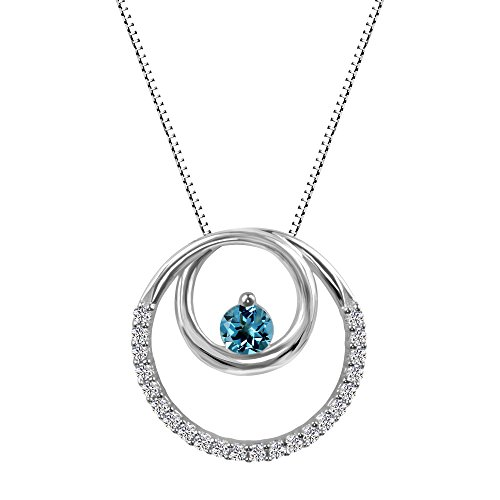 Sterling Silver Swiss Blue Topaz and Lab-Created White Sapphire Circle Pendant