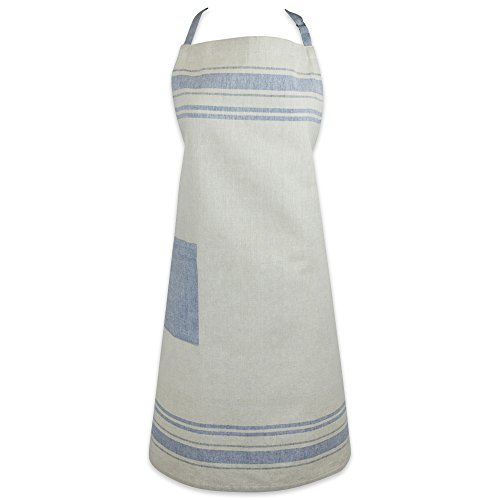 DII Cotton French Stripe Kitchen Chef Apron with pocket and Extra-Long Ties, 33 x 28