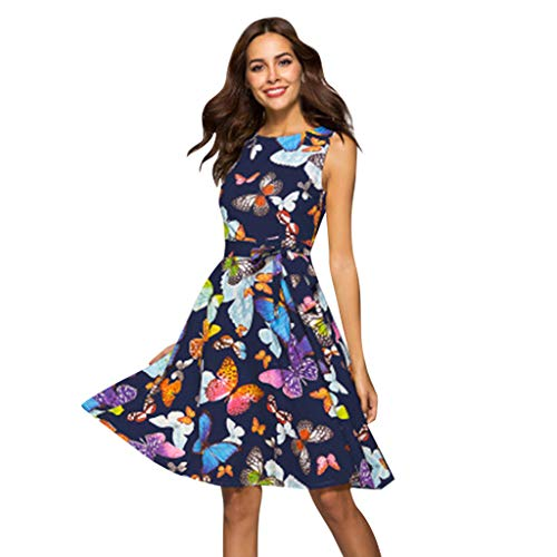 WEISUN Women Casual Dress Summer Butterfly Print Plus Size Dress Sleeveless Loose Dress Sale Today Blue