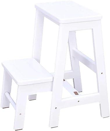 Taburete de escalera Taburetes de madera de 2 niveles escalones para adultos Taburetes de escalera para el hogar Taburetes de escalera multifunción Taburete de escalera portátil (Color: blanco): Amazon.es: Hogar