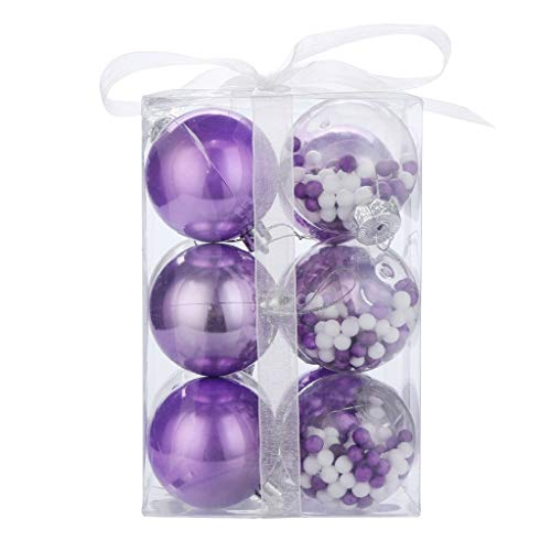 (12pcs Christmas Ball Ornaments Shatterproof Christmas Decorations Tree Bauble Balls Small for Holiday Wedding Party Decoration, Tree Ornaments Hooks - Themed with Tree Skirt (Purple))