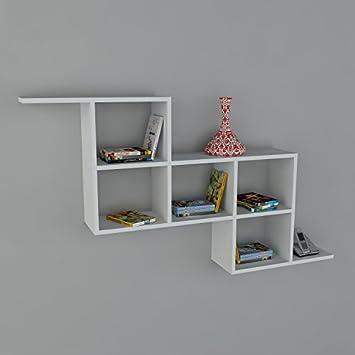 Mensola da parete zeta   bianco legno opera tessuto   libreria ...