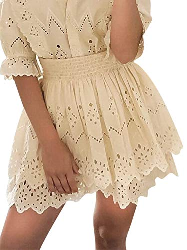 Miessial Women's Elegant Lace Embroidery Mini Skirts Ruffled Hollow Out A-line Short Skirt Yellow - A-line Smocked