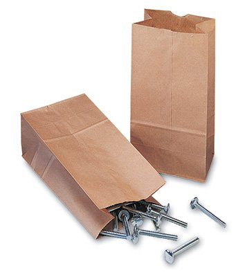 5'' x 3-1/8'' x 9-5/8'' 50 lb. Kraft Hardware Paper Bag (250 Bags) - AB-175-2-004 by Miller Supply Inc
