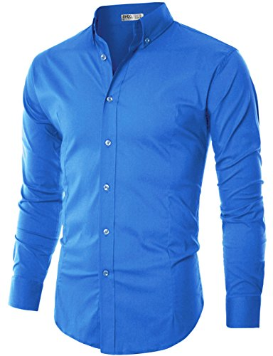 Ohoo Mens Slim Fit Long Sleeve Flexibility Casual Button Down Shirt Added Darts/DCC003-COBALTBLUE-L/US M