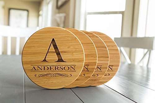 Personalized Coasters Trivets for Hot Dishes - 7inch Kitchen Wood Trivet, Personalized Wedding Gifts (Anderson Design, Set of 4)