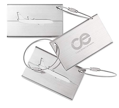 Tags Steel Stainless Luggage (Coral Entertainments CE Luggage Tags 3 Units Stainless Steel. 1-Year Warranty and Bonus Included.)