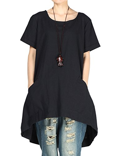 Mordenmiss Women's Cotton Linen Tunic Tops Hi-Low Dresses with Pockets (XXL, Black)