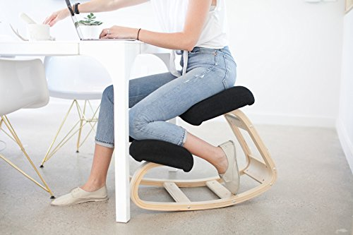 Sleekform Ergonomic Balancing Kneeling Chair - Better Posture Wood Kneeling Stool - Great Home Office or Desk Chair - Larger Seat, Knee Cushions - Sturdy and Comfortable - Orthopedic Stool by Sleekform