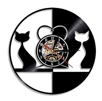 Yanshu Reloj de Pared de Vinilo 1 Pieza Vintage Diseño Amor Gatos Reloj de Pared Animales Record Reloj Couplea Gatos Decoración del Hogar 12 Pulgadas: ...
