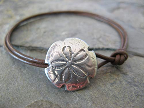 Leather Bracelet and Sand Dollar Button Clasp Boho Artisan Jewelry