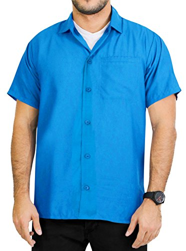 La Leela Smooth Rayon Aloha Hawaii Tropical caribbean vintage Matching Hawaiian shirt for men juniors Turquoise Blue XS