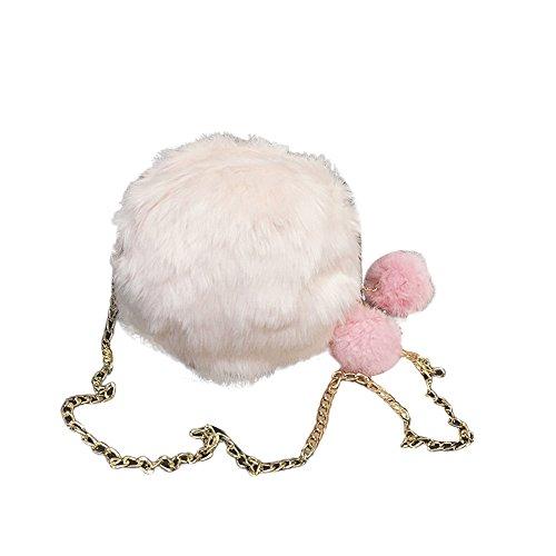 Morwind El caramelo de las mujeres colorea el bolso de hombro, bolso lindo bonito de la felpa (Negro) Rosa