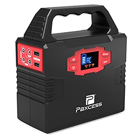 100-Watt Portable Generator Power Inverter, 40800mAh CPAP Battery Pack Hurricane Emergency Power Supply Charged by Solar Panel/Wall Outlet/Car with Dual 110V AC Outlet, 3 DC 12V Ports, USB (Power Gas Generator)