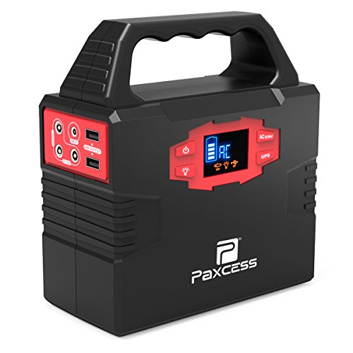100-Watt Portable Generator Power Inverter, 40800mAh CPAP Battery Pack Home Camping Emergency Power Supply Charged by Solar Panel/Wall Outlet/Car with Dual 110V AC Outlet, 3 DC 12V Ports, USB Ports by PAXCESS