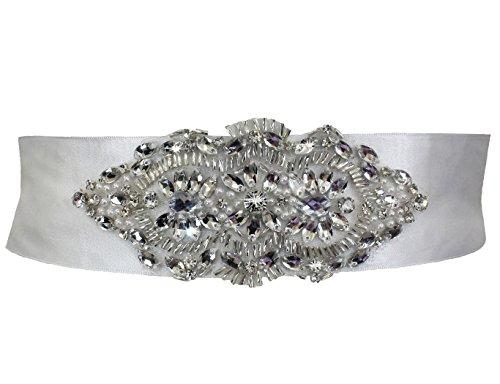 Glass Bead Satin Ribbon Bridal Sash 5cm wide 150cm long Ivory JL1712IV
